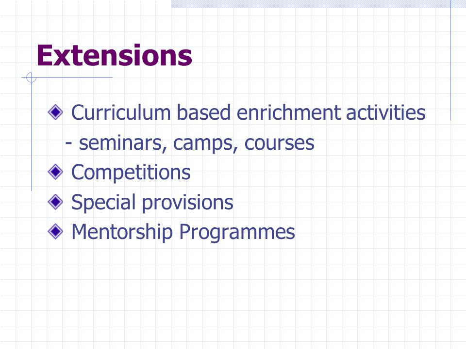 Extensions Curriculum based enrichment activities
