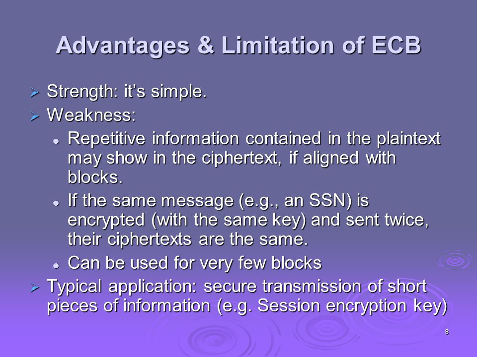 Advantages & Limitation of ECB