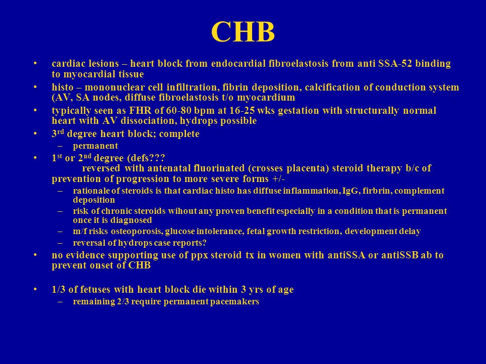 CHB cardiac lesions – heart block from endocardial fibroelastosis from anti SSA-52 binding to myocardial tissue.