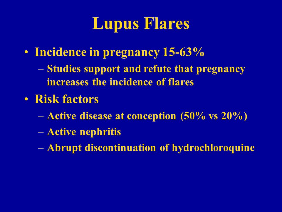 Lupus Flares Incidence in pregnancy 15-63% Risk factors