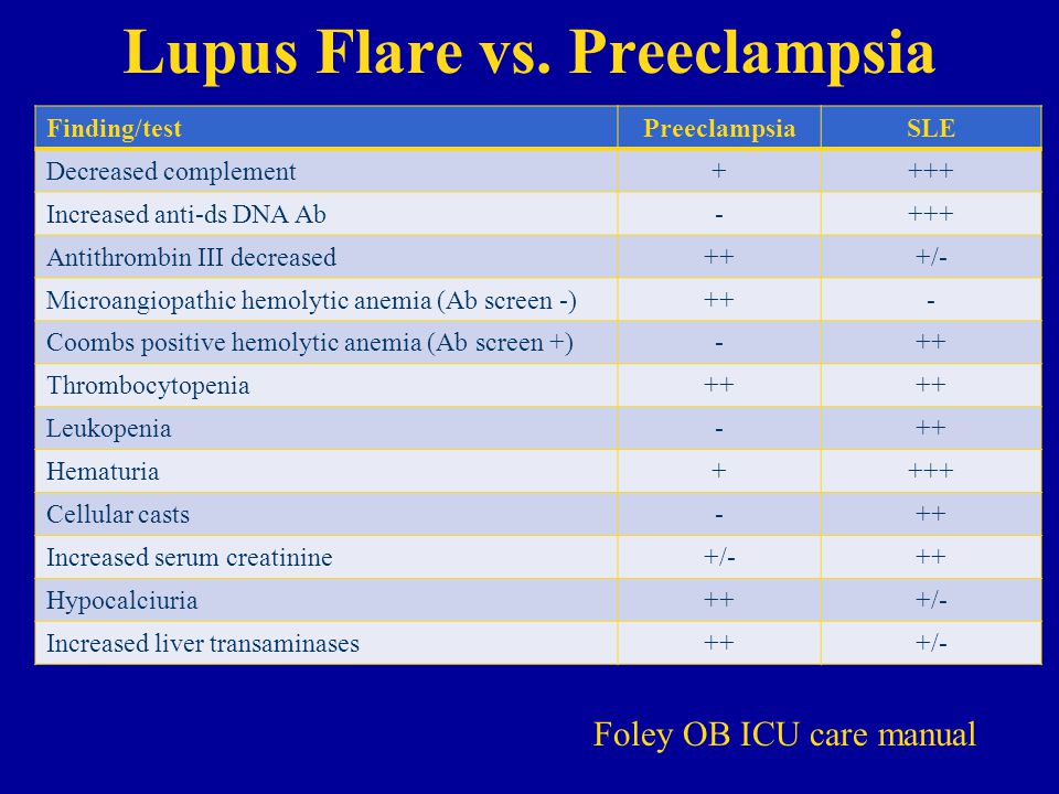 Lupus Flare vs. Preeclampsia