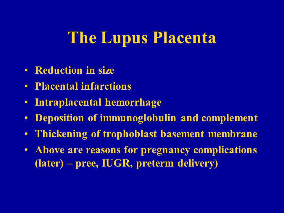 The Lupus Placenta Reduction in size Placental infarctions