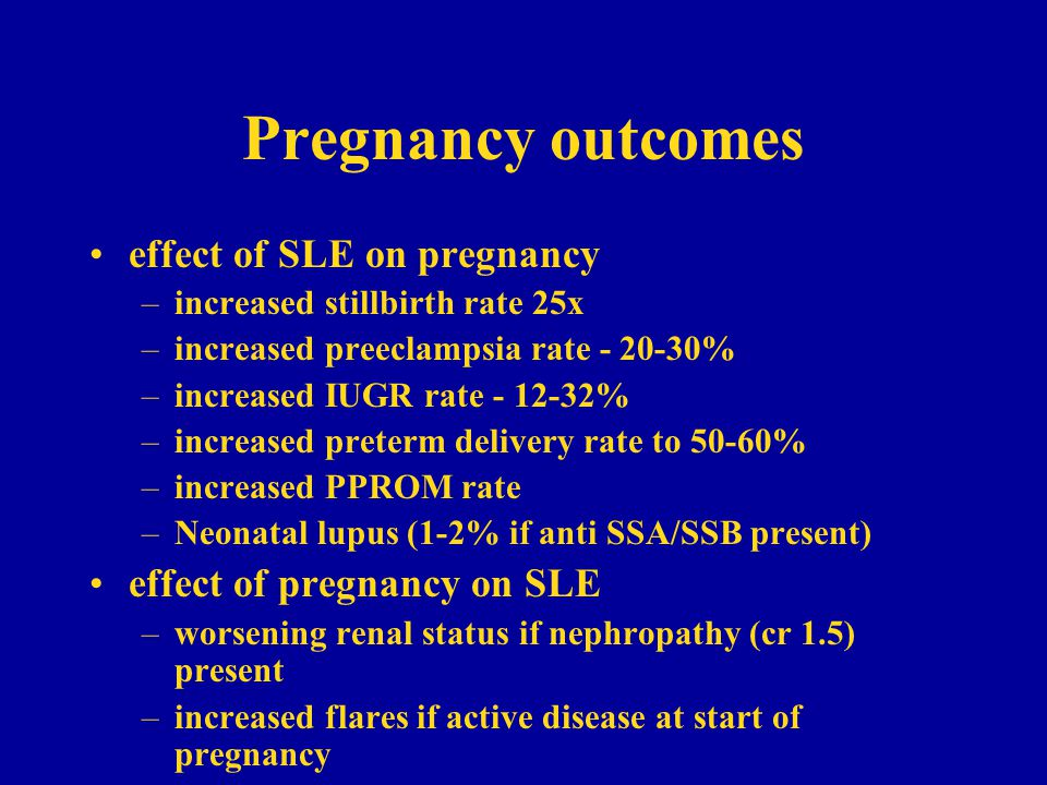 Pregnancy outcomes effect of SLE on pregnancy