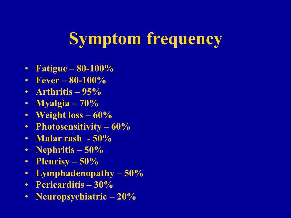 Symptom frequency Fatigue – 80-100% Fever – 80-100% Arthritis – 95%