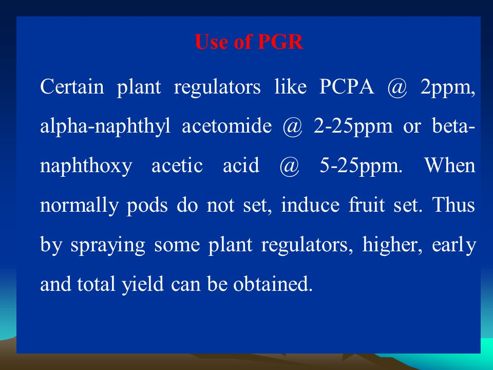 Use of PGR Certain plant regulators like PCPA @ 2ppm, alpha-naphthyl acetomide @ 2-25ppm or beta-naphthoxy acetic acid @ 5-25ppm.