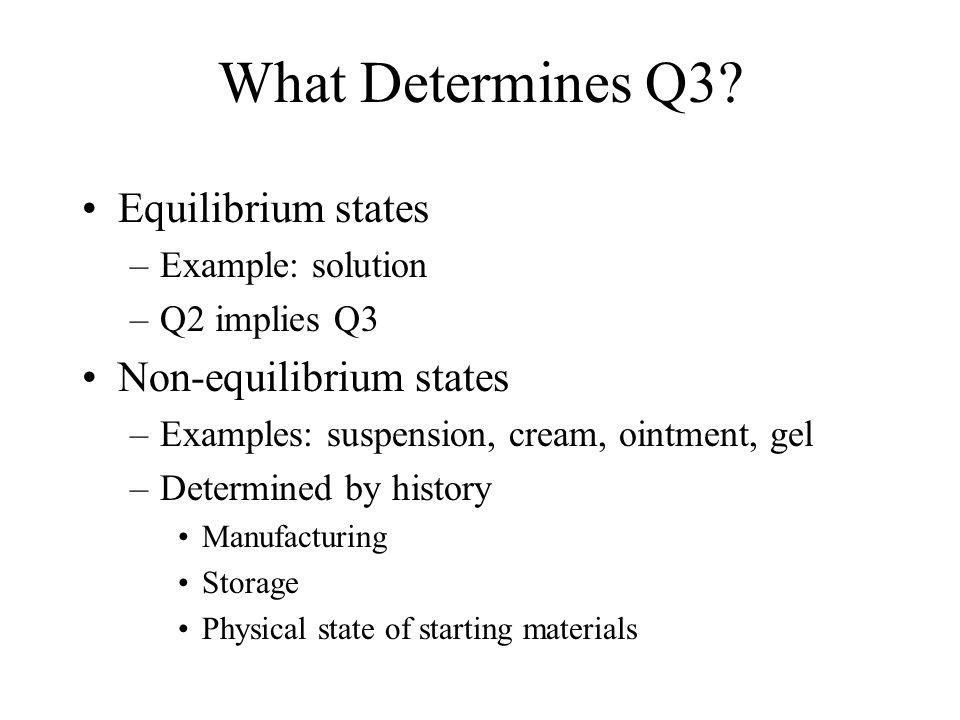 What Determines Q3 Equilibrium states Non-equilibrium states