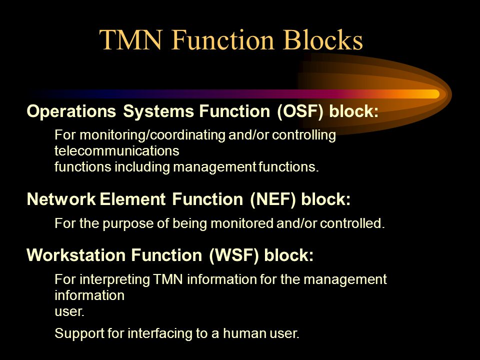 TMN Function Blocks Operations Systems Function (OSF) block: