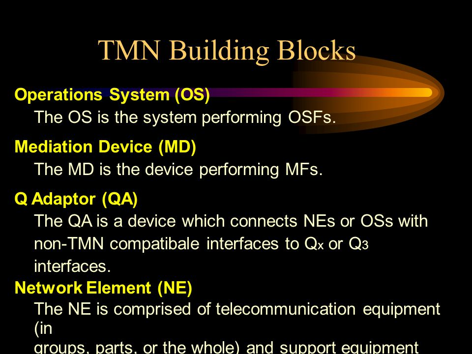 TMN Building Blocks Operations System (OS)
