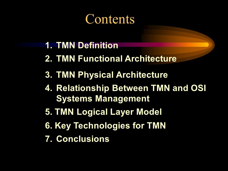 Contents 1. TMN Definition 2. TMN Functional Architecture