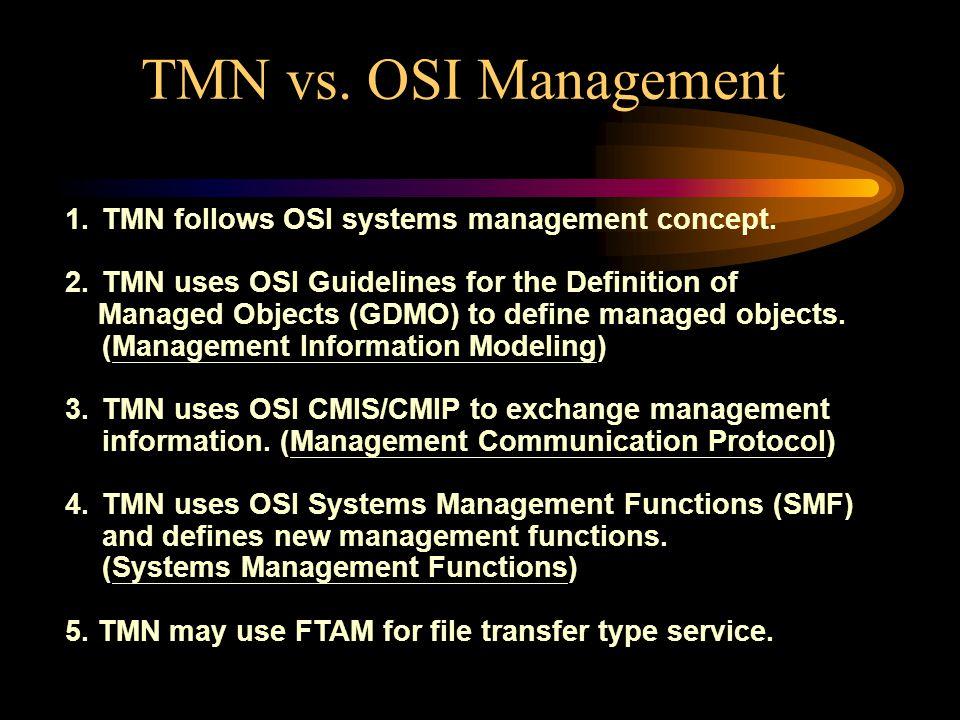 TMN vs. OSI Management 1. TMN follows OSI systems management concept.
