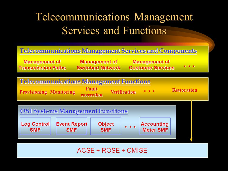 Telecommunications Management Services and Functions