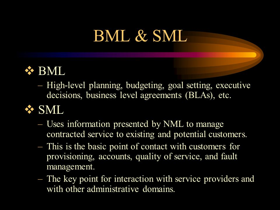 BML & SML BML. High-level planning, budgeting, goal setting, executive decisions, business level agreements (BLAs), etc.