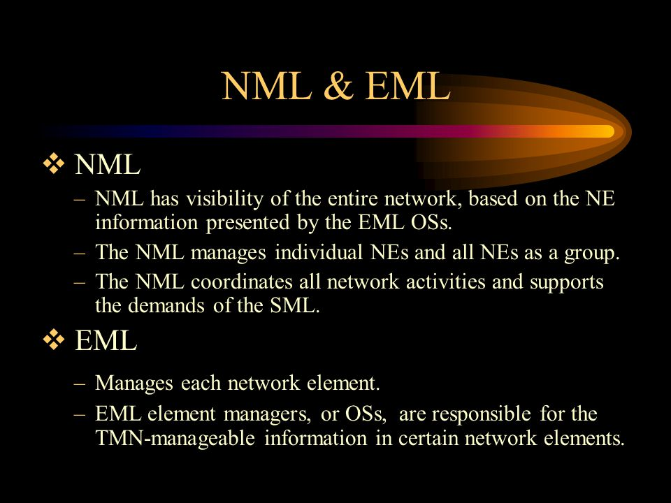 NML & EML NML. NML has visibility of the entire network, based on the NE information presented by the EML OSs.