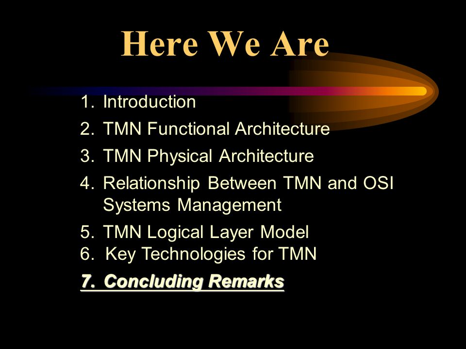 Here We Are 1. Introduction 2. TMN Functional Architecture