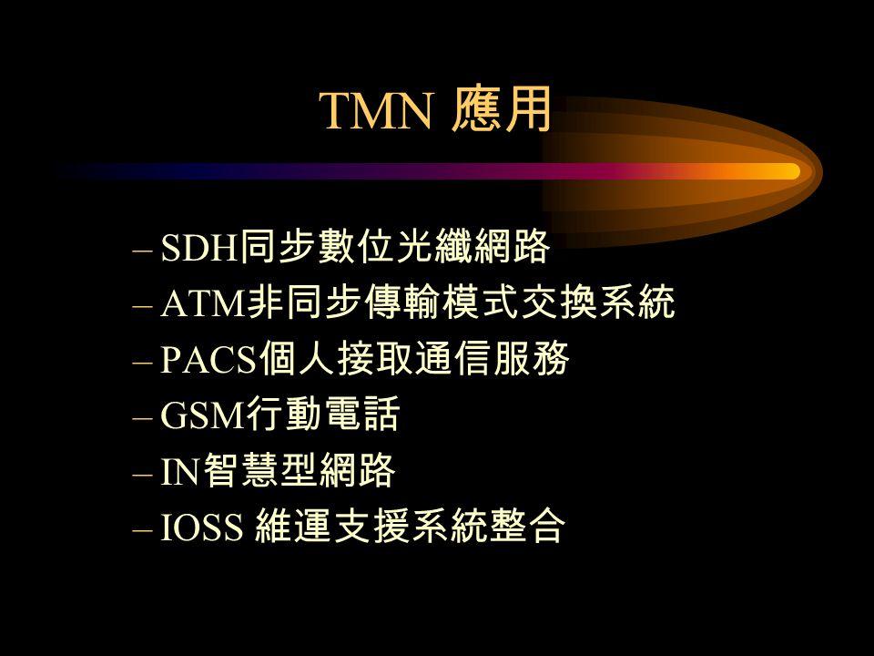 TMN 應用 SDH同步數位光纖網路 ATM非同步傳輸模式交換系統 PACS個人接取通信服務 GSM行動電話 IN智慧型網路