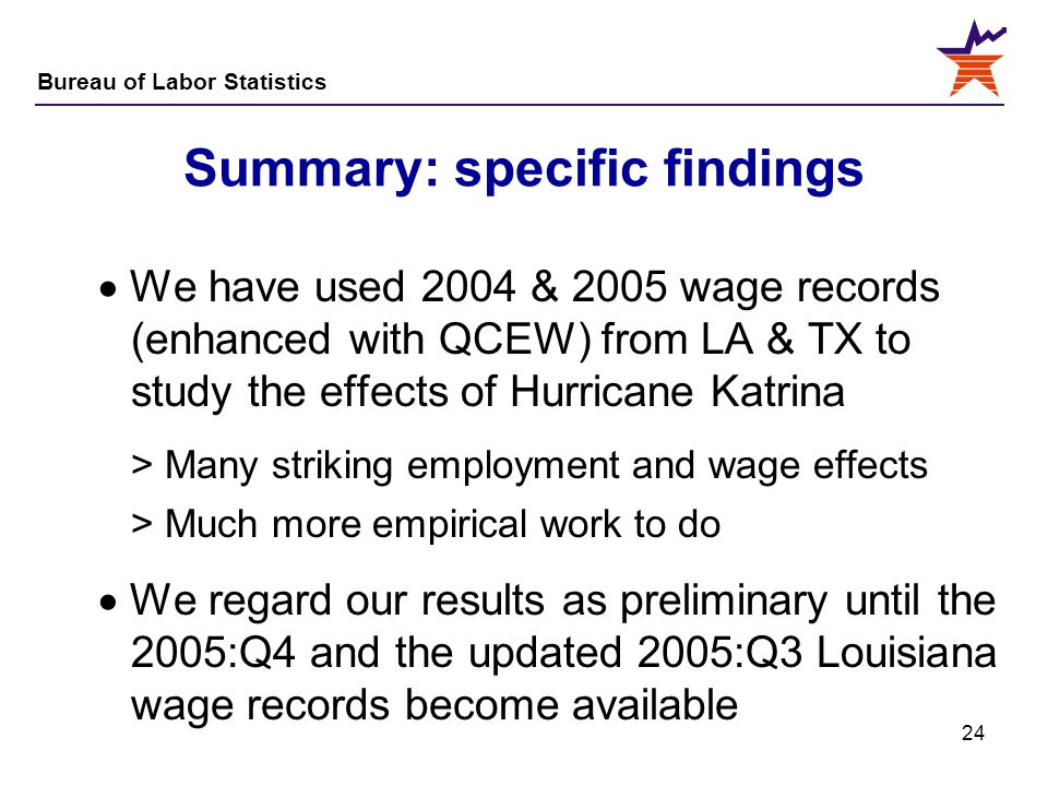 Summary: specific findings
