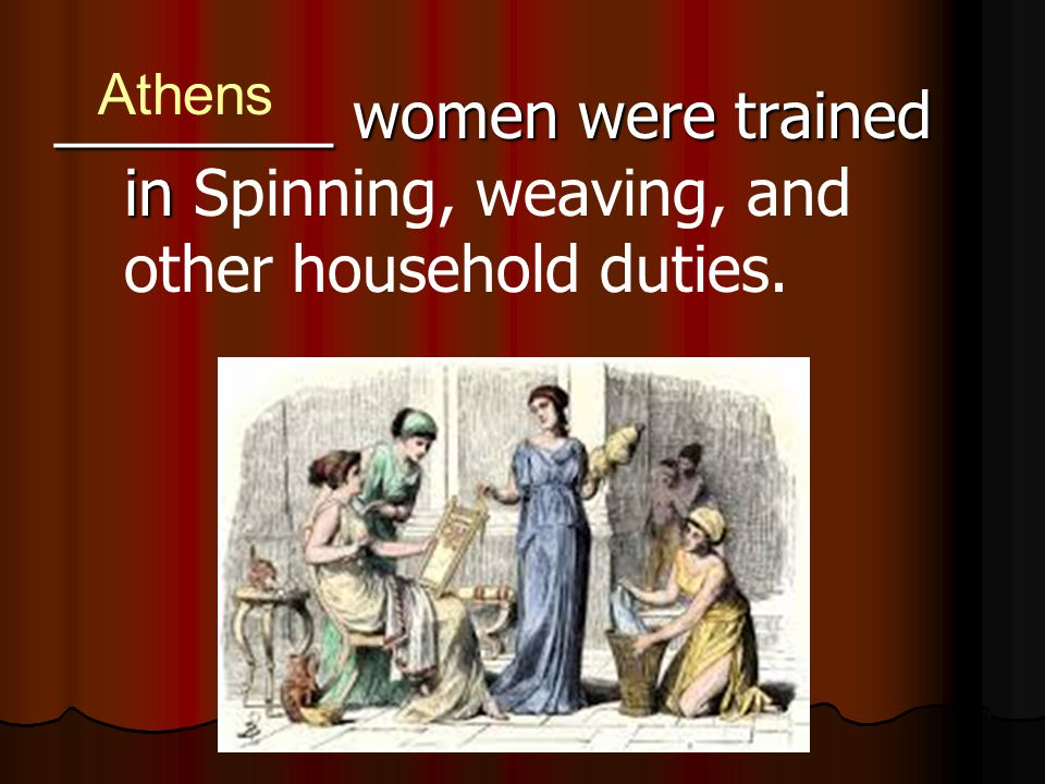 Athens ________ women were trained in Spinning, weaving, and other household duties.