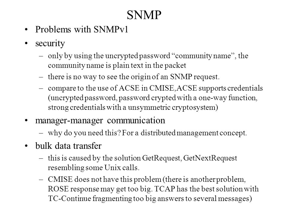 SNMP Problems with SNMPv1 security manager-manager communication