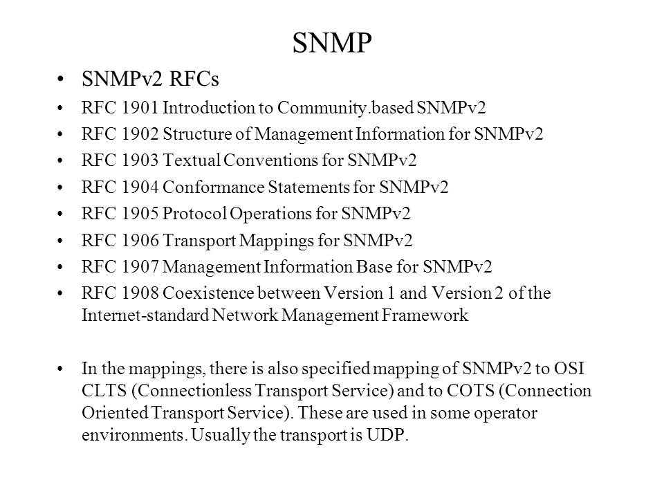 SNMP SNMPv2 RFCs RFC 1901 Introduction to Community.based SNMPv2