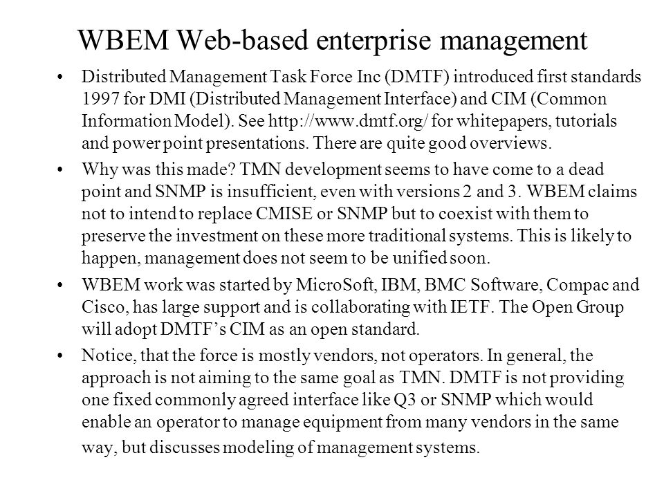 WBEM Web-based enterprise management
