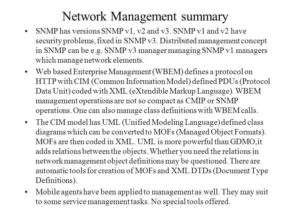 Network Management summary