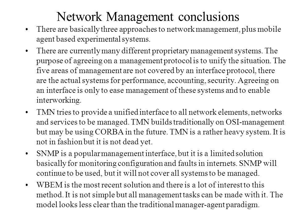 Network Management conclusions