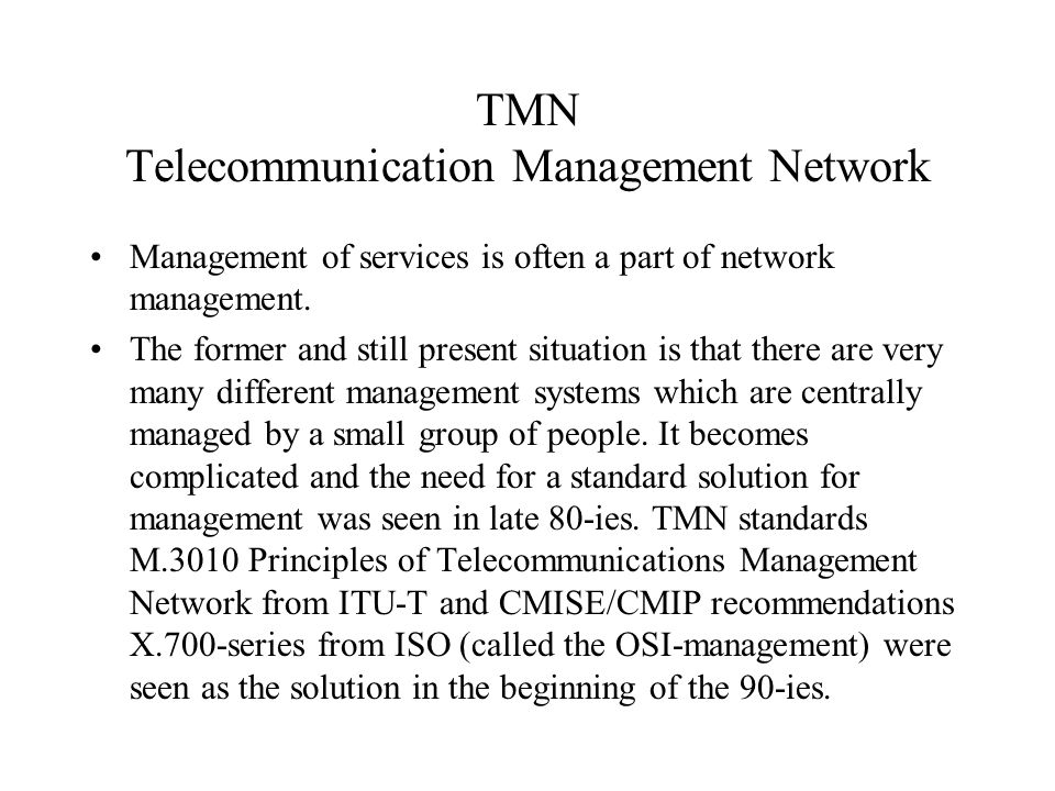 TMN Telecommunication Management Network