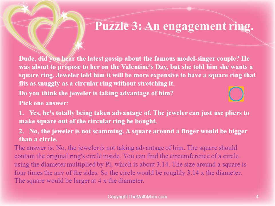 Puzzle 3: An engagement ring.