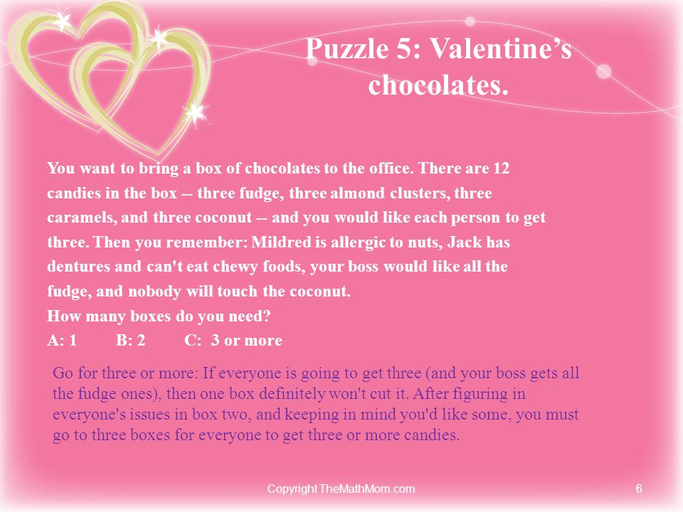 Puzzle 5: Valentine's chocolates.