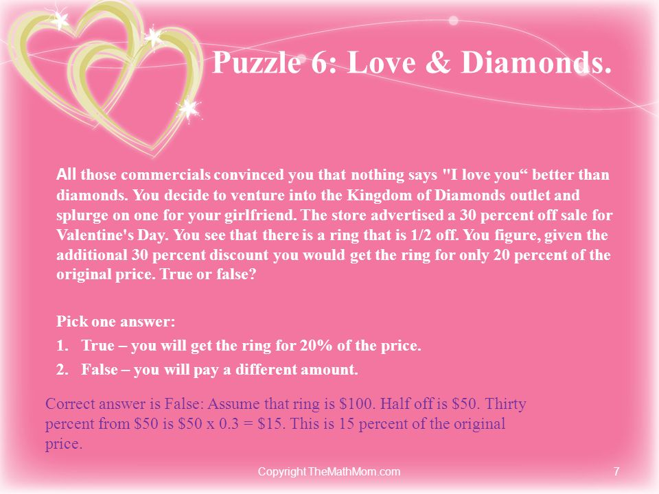 Puzzle 6: Love & Diamonds.