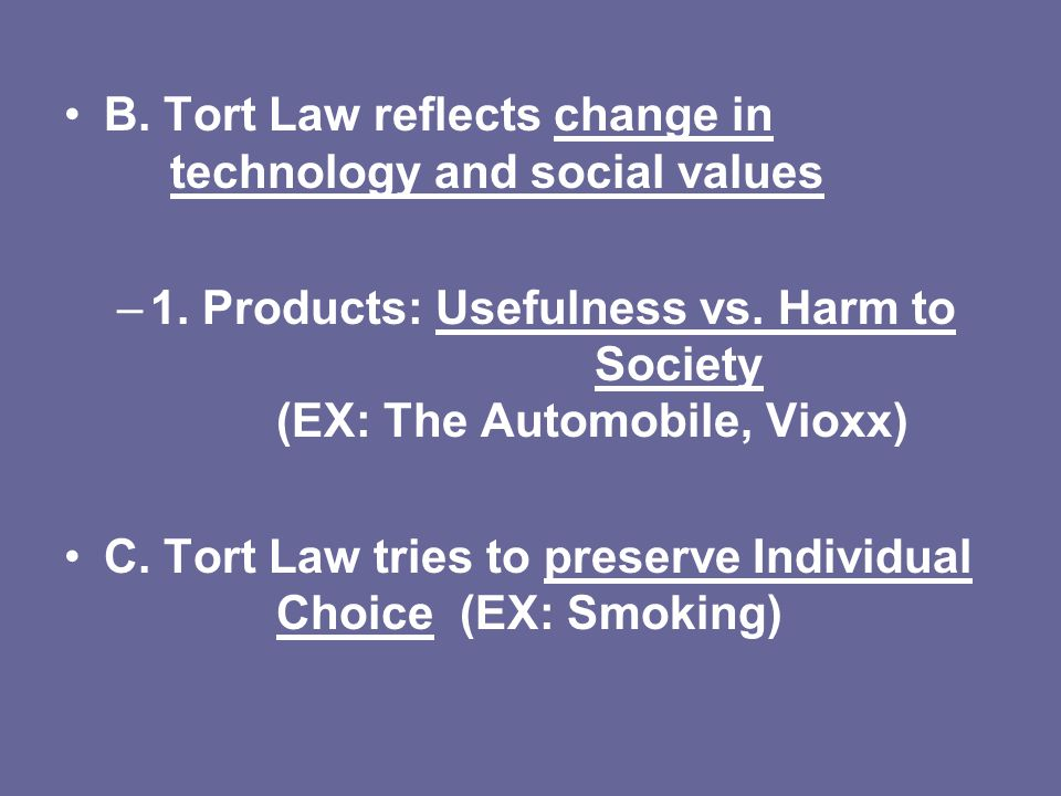 B. Tort Law reflects change in technology and social values