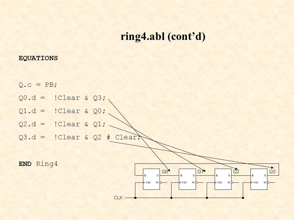 ring4.abl (cont'd) EQUATIONS Q.c = PB; Q0.d = !Clear & Q3;