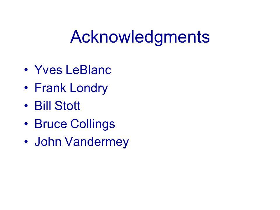 Acknowledgments Yves LeBlanc Frank Londry Bill Stott Bruce Collings