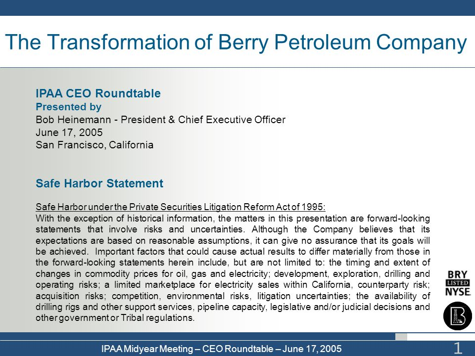 The Transformation of Berry Petroleum Company