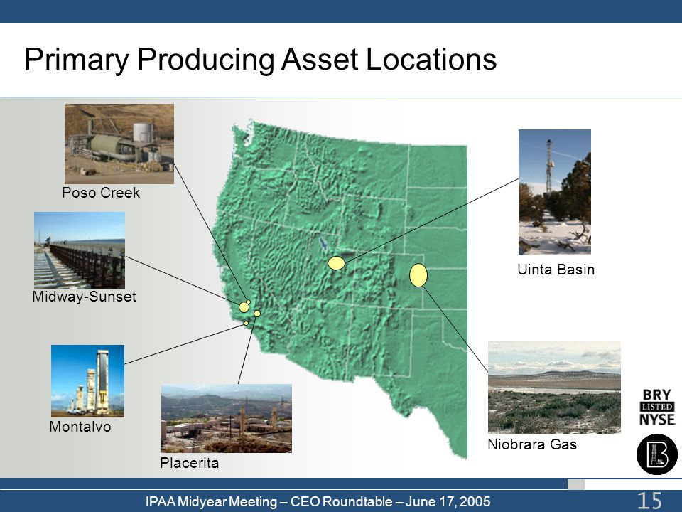 Primary Producing Asset Locations