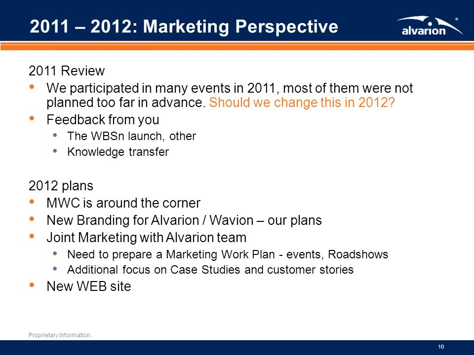 2011 – 2012: Marketing Perspective