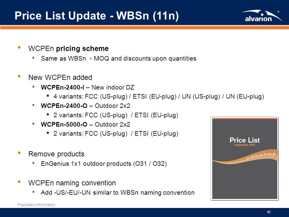 Price List Update - WBSn (11n)
