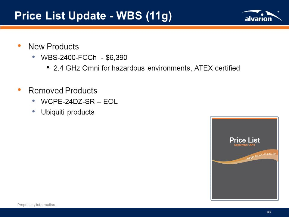 Price List Update - WBS (11g)
