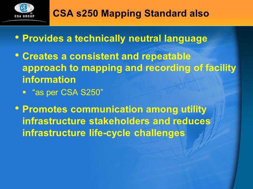 CSA s250 Mapping Standard also
