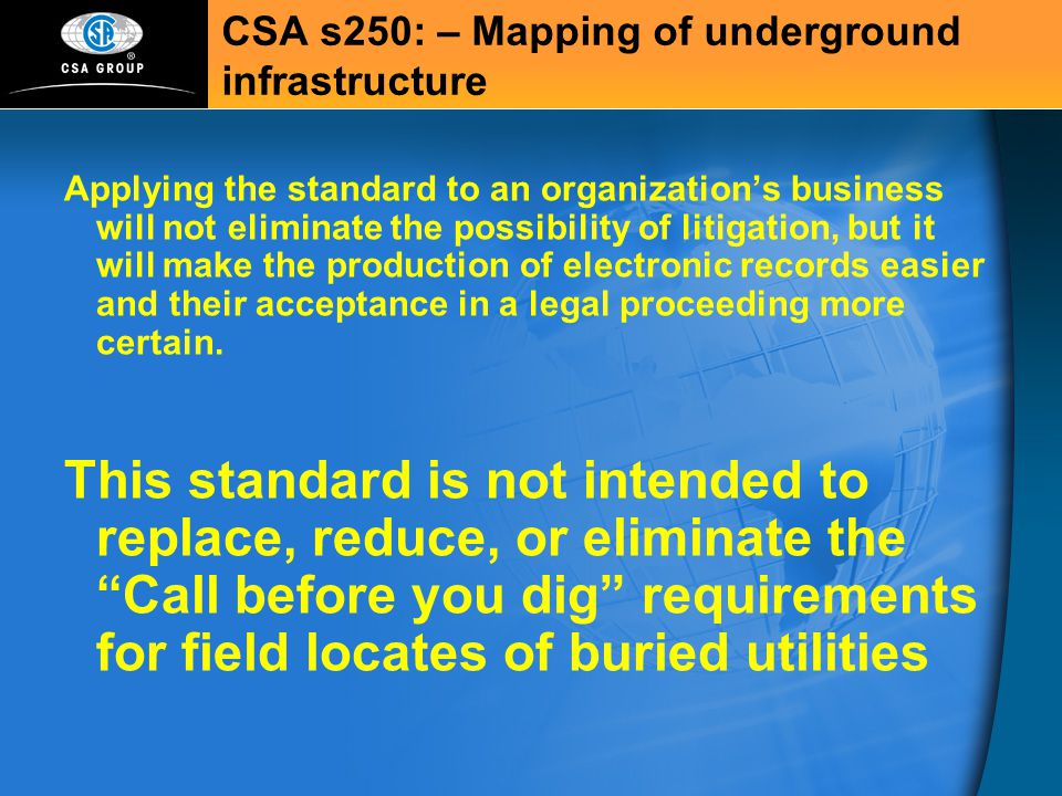 CSA s250: – Mapping of underground infrastructure