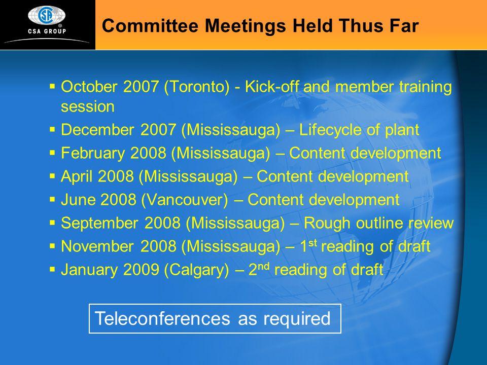 Committee Meetings Held Thus Far
