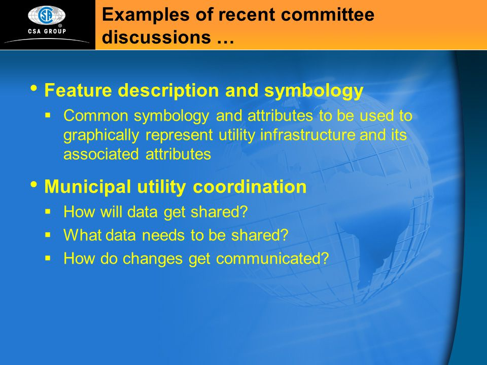 Examples of recent committee discussions …