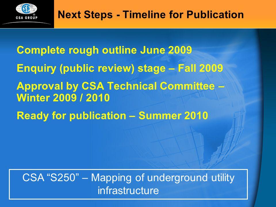 Next Steps - Timeline for Publication