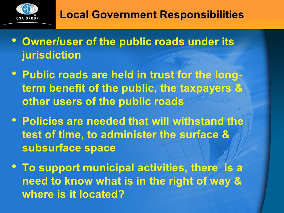 Local Government Responsibilities