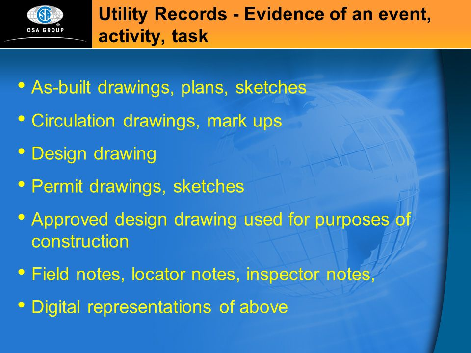 Utility Records - Evidence of an event, activity, task