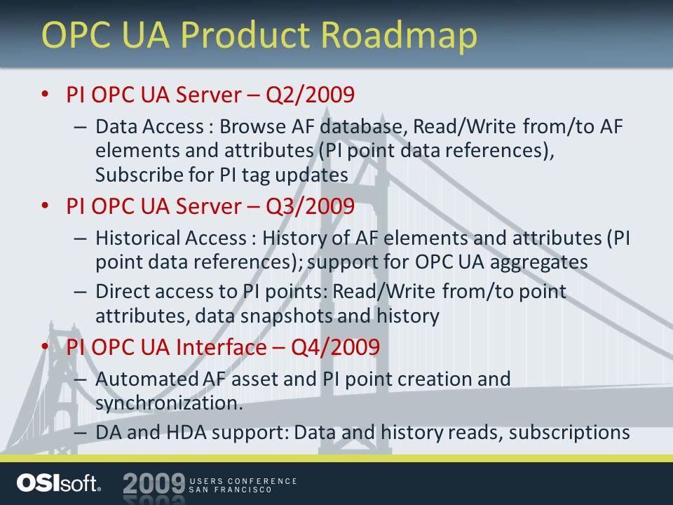 OPC UA Product Roadmap PI OPC UA Server – Q2/2009
