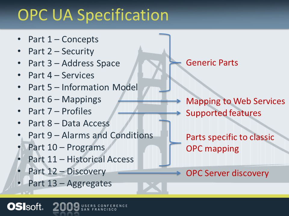 OPC UA Specification Part 1 – Concepts Part 2 – Security