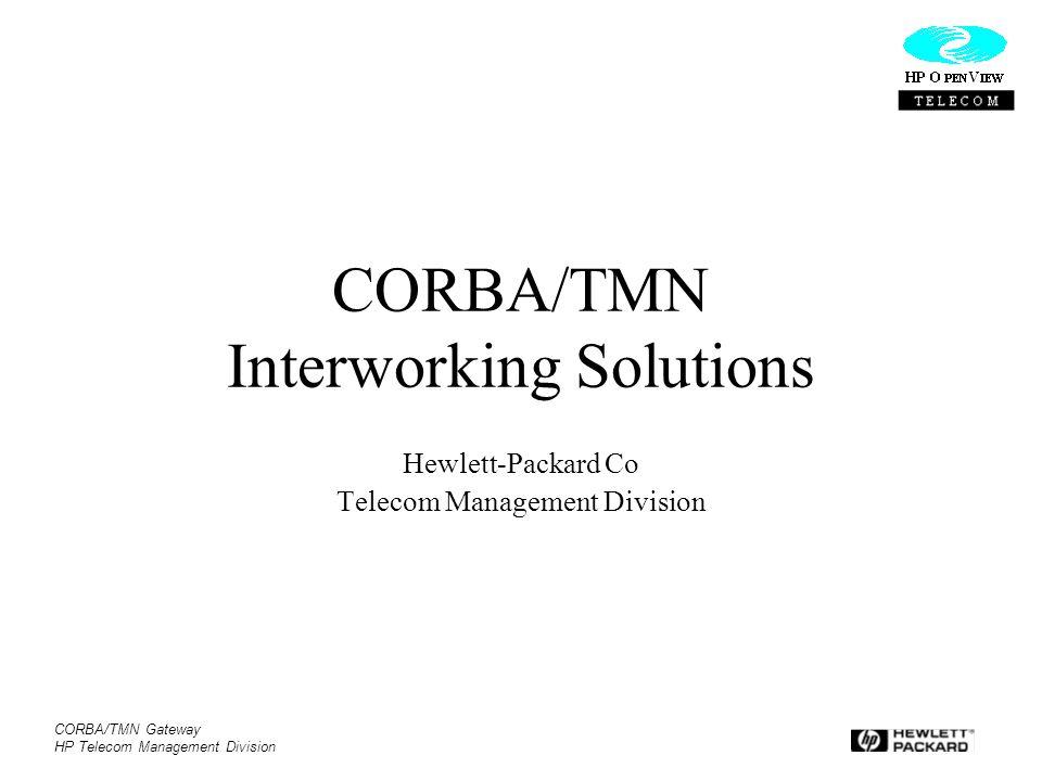 CORBA/TMN Interworking Solutions