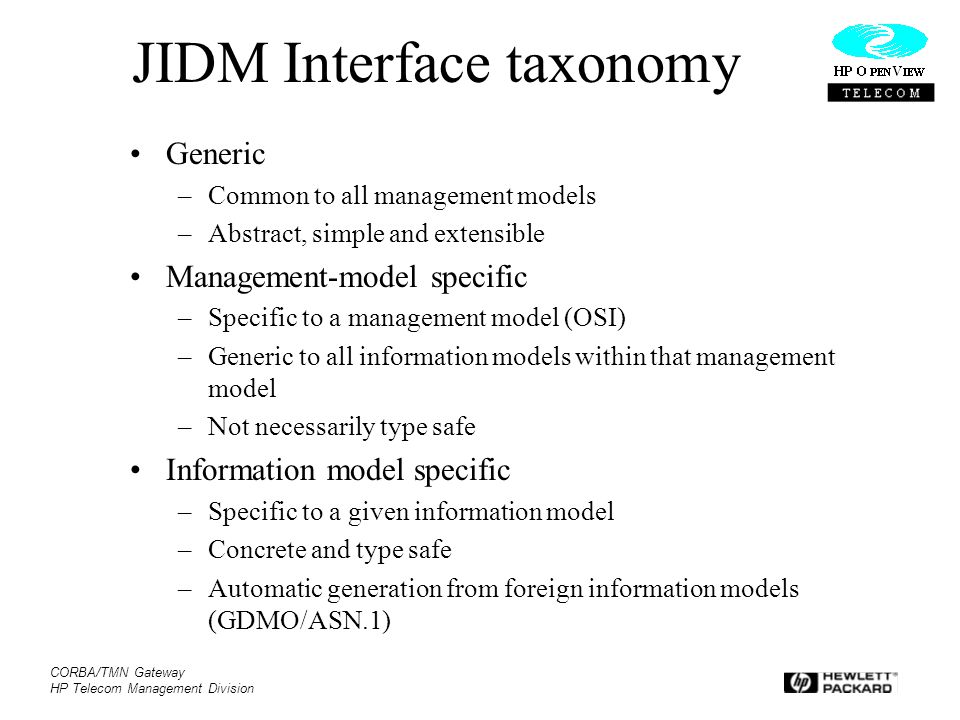 JIDM Interface taxonomy