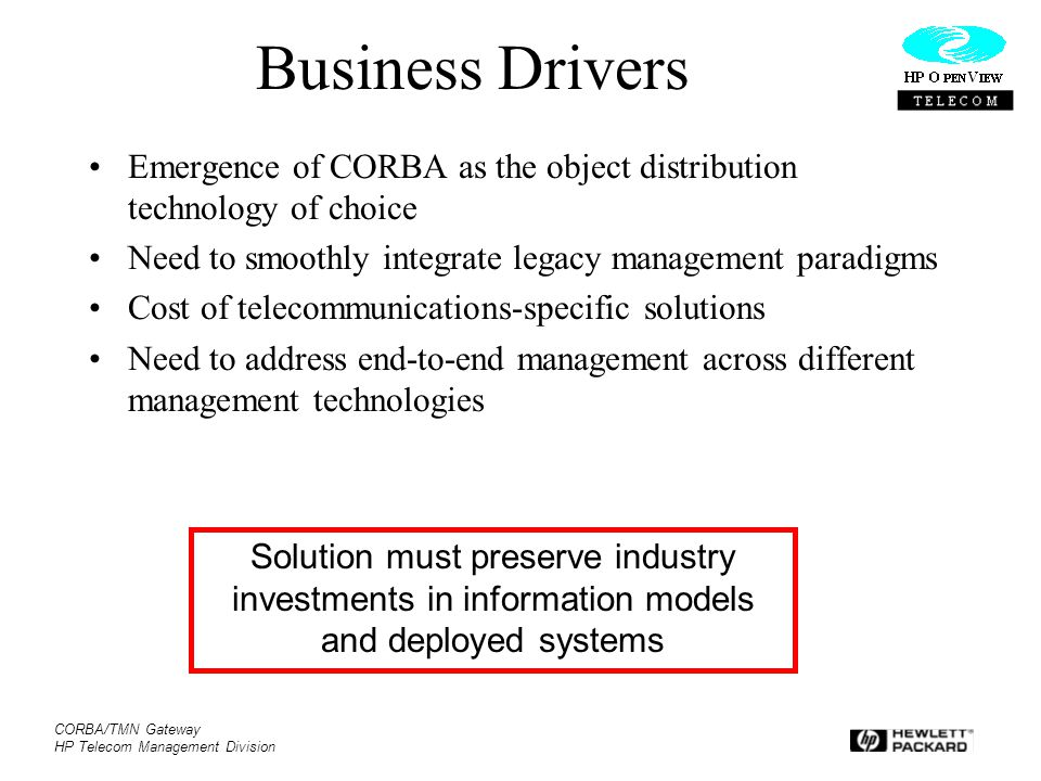 Business Drivers Emergence of CORBA as the object distribution technology of choice. Need to smoothly integrate legacy management paradigms.